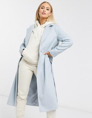 Helene Berman wool blend wrap coat in pale blue