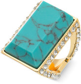 GUESS Gold-Tone Blue Stone and Crystal Statement Ring