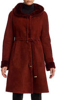 Christia Reversible Hooded Shearling Belted Coat