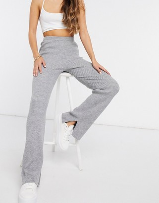 M Lounge relaxed wide-legged pants in rib knit co-ord