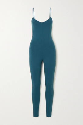 Live The Process Corset Stretch-supplex Bodysuit - Petrol