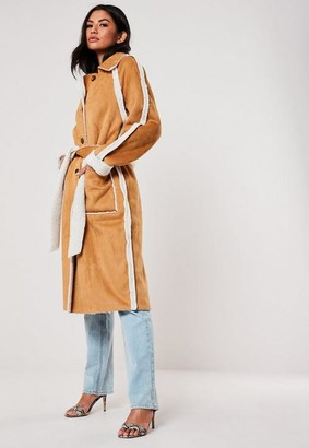 Missguided Brown Faux Suede Teddy Borg Reversible Trench Coat