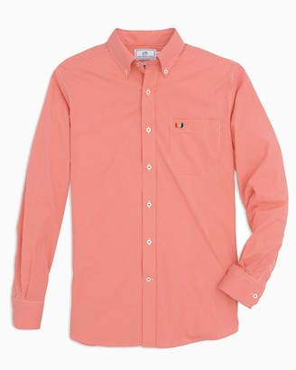 Southern Tide Miami Hurricanes Gingham Button Down Shirt