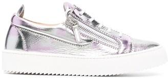 Giuseppe Zanotti Metallic Leather Low-Top Sneakers