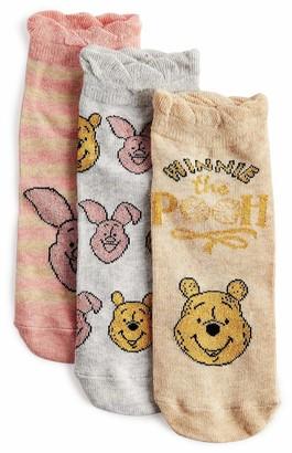 Licensed Disney Winnie The Pooh Piglet 3 Pair Shoe Liners Novelty Ankle Socks Gift Disney New Ladies 4-8