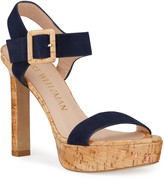 Stuart Weitzman Alesha Suede Cork Platform Sandals