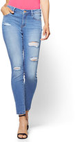 New York & Co. Soho Jeans - Destroyed Curvy Legging - Blue Society Wash - Petite