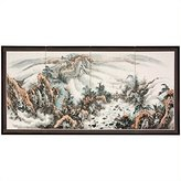 Oriental Furniture Asian Decor and Gifts, 36 by 72-Inch Mountain Top Landscape Oriental Brush Art Wall Screen Painting