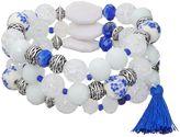 Dana Buchman Blue & White Flower Bead Stretch Bracelet Set