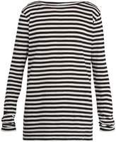Faith Connexion Boat-neck striped cotton and linen-blend top