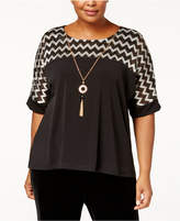 Alfred Dunner Plus Size Zig-Zag Top with Necklace