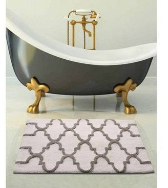 Saffron Fabs Bath Rug 2-Piece Set, Geomatric Pattern, Assorted Colors and Sizes