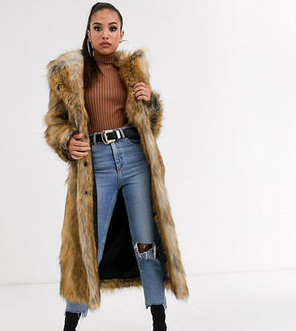 Asos DESIGN Petite luxe vintage inspired faux fur maxi coat in brown