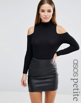 Asos Top with Cold Shoulder and High Neck in Clean Rib
