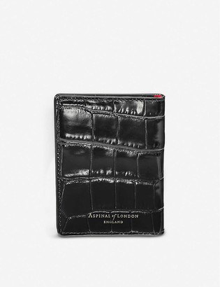 Aspinal of London Croc-embossed ID and travel card leather case