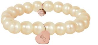 Jane Basch 14K Rose Gold 8Mm Pearl Dangling Heart Initial Bracelet (A-Z)
