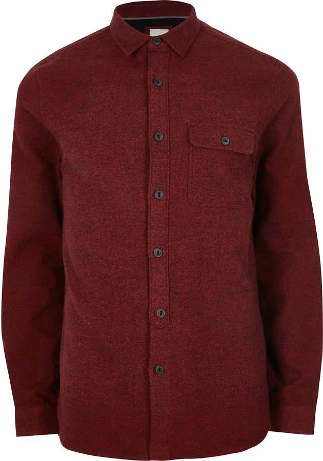 River Island Mens Dark Red long sleeve chest pocket shirt