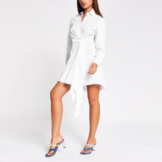 River Island Womens White long sleeve twist front shirt dress