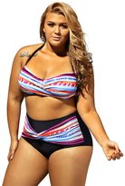 Sugarwewe Women's Plus Size Colorful Striped High Waist Bikini Set Swimsuit Plus