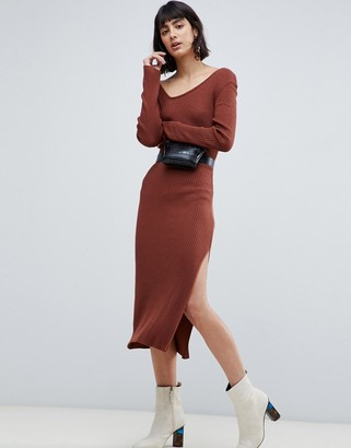 Asos Design DESIGN knit rib midi dress with asymmetric neck-Red