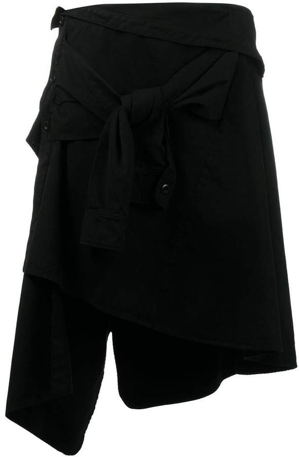 asymmetric tied skirt
