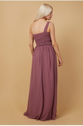 Little Mistress Bridesmaid Luanna Mauve Embellished One-Shoulder Maxi Dress