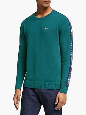 Tommy Hilfiger Branded Sleeve Cotton Jumper, Atlantic Deep