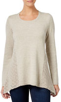 Style And Co. Plus Solid Crochet-Detail Sweater
