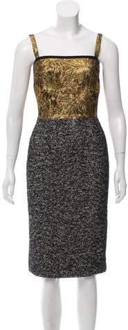 Dolce & Gabbana Brocade-Accented Tweed Dress