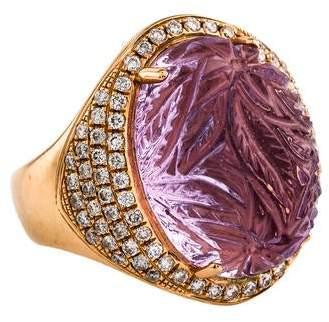 Rina Limor Fine Jewelry 18K Amethyst & Diamond Cocktail Ring