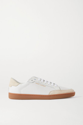 Saint Laurent Court Classic Perforated Leather And Suede Sneakers - White