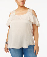 Almost Famous Trendy Plus Size Cold-Shoulder Top