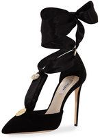 Olgana Paris L'Amiral Suede Ankle-Tie Pump, Black