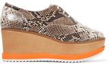 Schutz Zaza Python-Effect Leather Platform Sneakers
