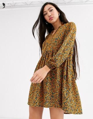 Monki ditsy floral print mini smock dress in mustard-Yellow