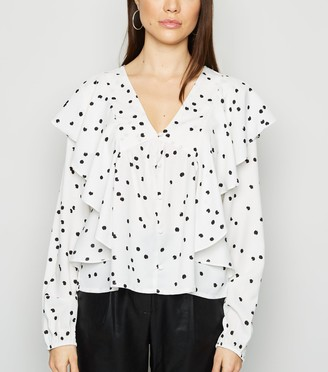 New Look Influence Spot Ruffle Trim V Neck Blouse