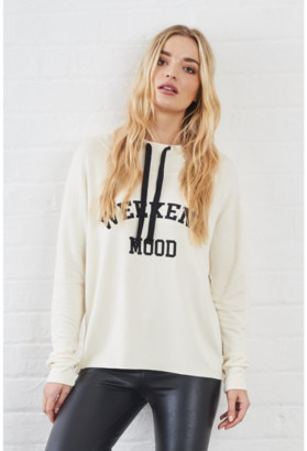 Sundae Tee - Kelis Weekend Mood Printed Hoody in Cream - cream | viscose | fits sizes 8,10,12 | size 2 - Cream
