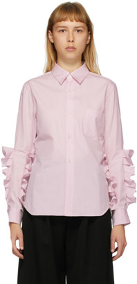 Comme des Garcons Pink Broad Double Ruffle Shirt