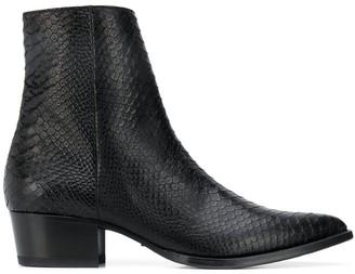Amiri Embossed Low-Heel Ankle Boots