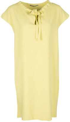 Ermanno Scervino Yellow Neck Tie Detail Sleeveless Dress M