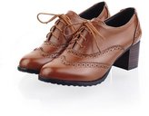 Caddy Wolfclaw Womens Vintage Lace-up Brogue Shoe Mid Heel PU Leather Wingtip Oxfords Shoes