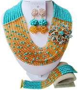 aczuv 10 Rows Women's Fashion Crystal Beaded Jewelry Set African Wedding Beads Bridal Jewelry Sets