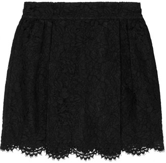 Valentino Layered Lace And Silk-organza Mini Skirt