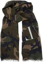 Valentino Lightweight Camouflage Scarf, Green, One Size