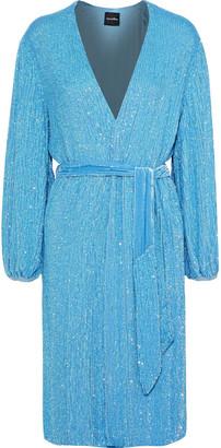 retrofete Velvet-trimmed Sequined Chiffon Wrap Dress