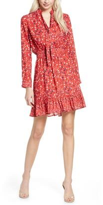Sam Edelman Floral Flounce Tie Neck Dress