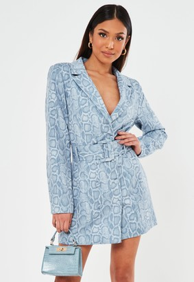 Missguided Petite Blue Snake Print Belted Blazer Dress