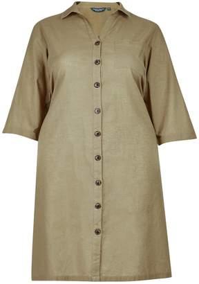 Dorothy Perkins Womens **Dp Curve Khaki 3/4 Sleeve Shirt Dress With Linen, Khaki