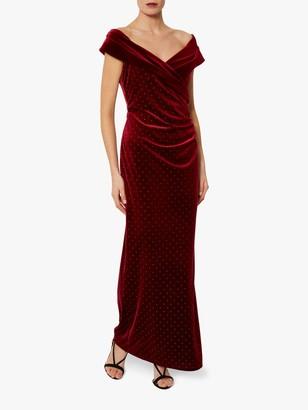 Gina Bacconi Vesper Embroidered Stud Dress, Wine/Gold