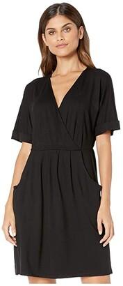 Kensie Drapy Knit Short Sleeve Dress KS9K8394 (Black) Women's Dress
